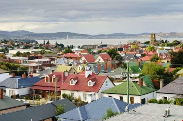 Colorful Rooftops Hobart Tasmania Australia-Colorful Rooftops Hobart Tasmania Australia