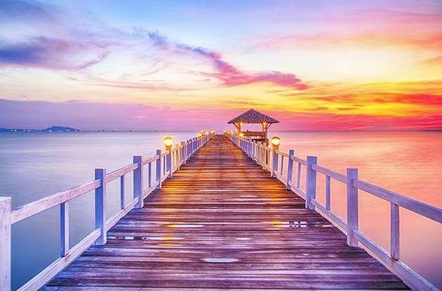 wooded-bridge-in-the-port-between-sunrise-bangkok-Wooded Bridge In The Port Between Sunrise Bangkok