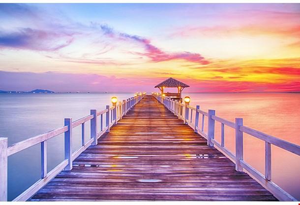 Wooded Bridge In The Port Between Sunrise Bangkok