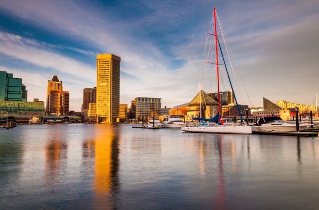 Evening Light On The Inner Harbor Baltimore Maryland-Evening Light On The Inner Harbor Baltimore Maryland
