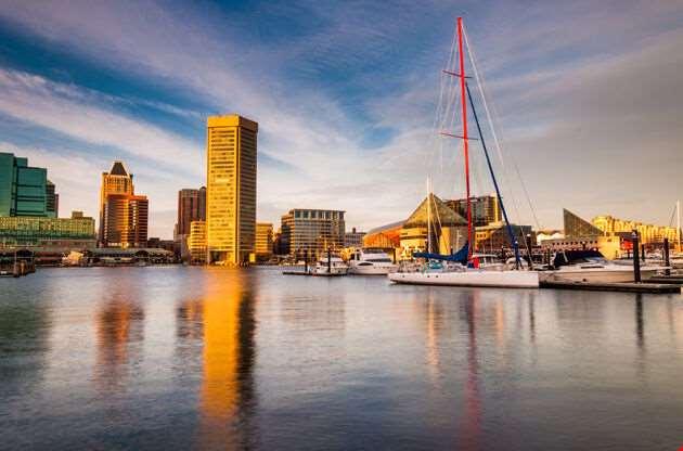 Evening Light On The Inner Harbor Baltimore Maryland-Evening Light On The Inner Harbor Baltimore Maryland