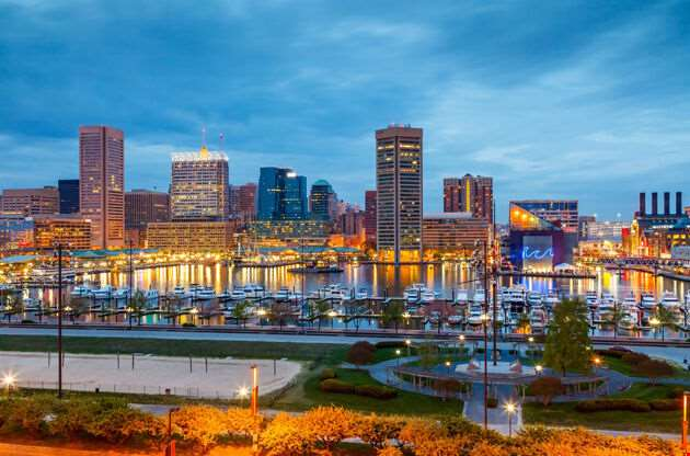 View On Downtown Of Baltimore At Night-View On Downtown Of Baltimore At Night