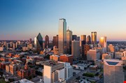 Dallas Texas Cityscape With Blue Sky At Sunset-Dallas Texas Cityscape With Blue Sky At Sunset