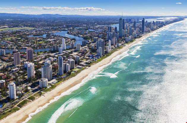 Aerial View Of Gold Coast Queensland Australia-Aerial View Of Gold Coast Queensland Australia