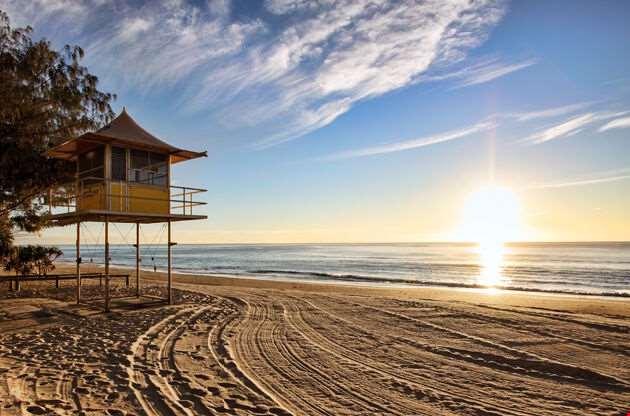 Beach At Sunrise Gold Coast Australia-Beach At Sunrise Gold Coast Australia