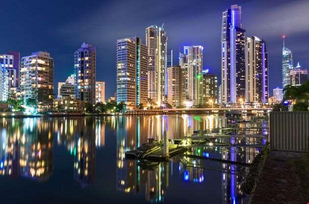 City At Night Gold Coast Queensland Australia-City At Night Gold Coast Queensland Australia