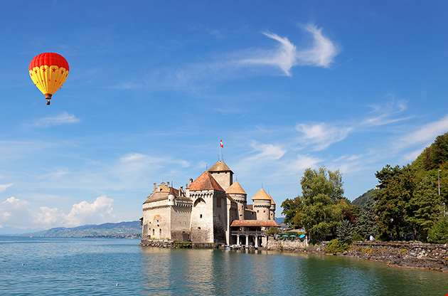the-chillon-castle-at-lake-geneva-The Chillon Castle At Lake Geneva
