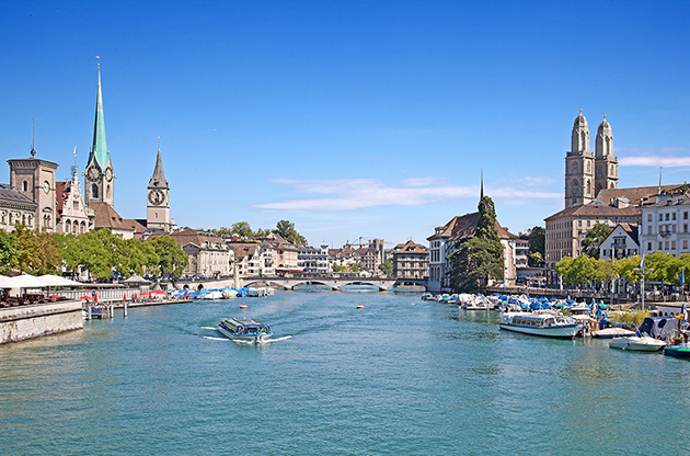 limmat-river-and-famous-zurich-churches-Limmat River And Famous Zurich Churches