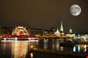 zurich-downtown-by-night-Zurich Downtown By Night