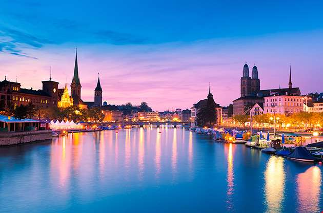 zurich-skyline-and-the-river-limmat-Zurich Skyline And The River Limmat