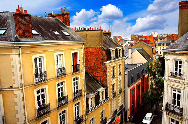 Street With Colorful Houses In Rennes France-Street With Colorful Houses In Rennes France