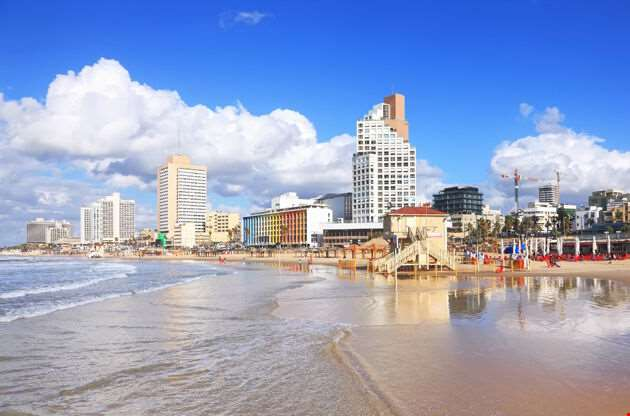 Panoramic View Of Tel Aviv Beach-Panoramic View Of Tel Aviv Beach