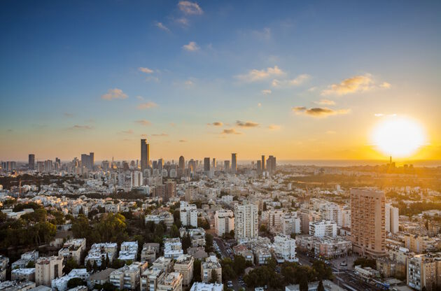 Tel Aviv And Ramat Gan Skyline At Sunset-Tel Aviv And Ramat Gan Skyline At Sunset