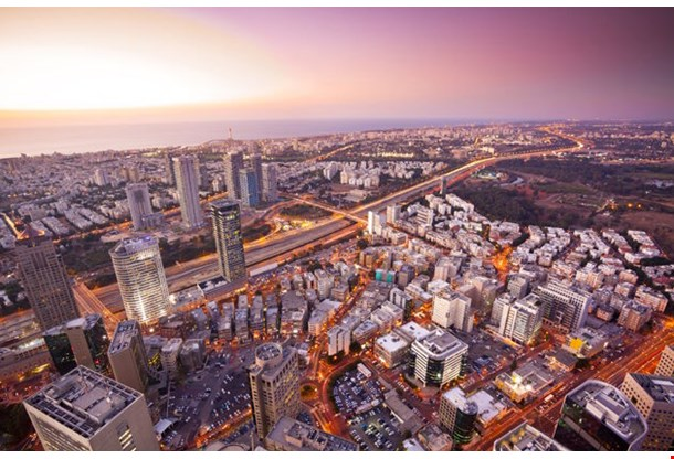 Tel Aviv At Sunset Ramat Gan Exchange District