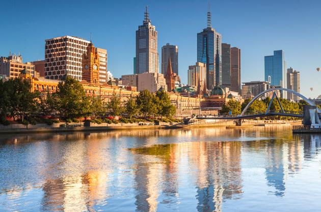 melbourne-skyline-looking-towards-flinders-street-Melbourne Skyline Looking Towards Flinders Street