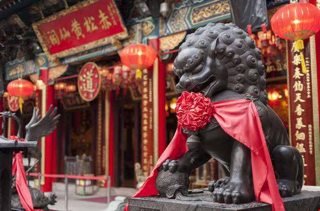 chinese-lion-statue-wong-tai-sin-temple-hong-kong-Chinese Lion Statue Wong Tai Sin Temple Hong Kong