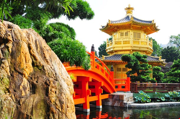 Pagoda Style Chinese Architecture in Garden Hong Kong