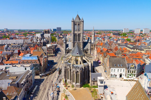 aerial-view-on-the-center-of-ghent-with-saint-nicholas-church-Aerial View On The Center Of Ghent With Saint Nicholas Church