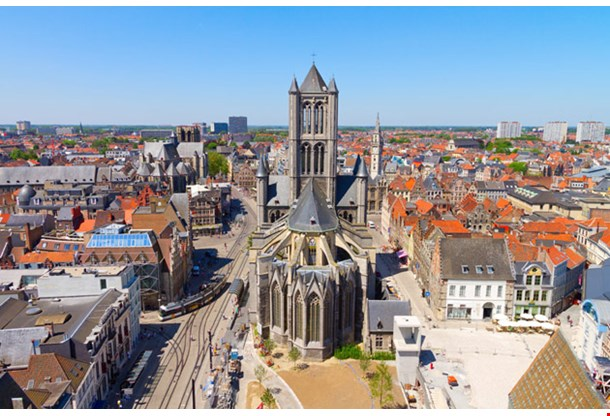 Aerial View On The Center Of Ghent With Saint Nicholas Church