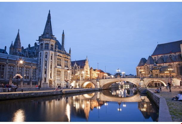 Ghent Post Palace and Michaels Bridge