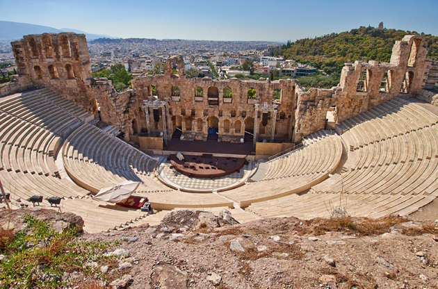 ancient-theater-under-acropolis-athens-Ancient Theater Under Acropolis Athens