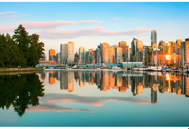Vancouver Skyline with Stanley Park at Sunset