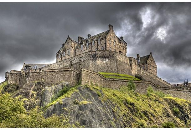 Edinburgh Castle On Rock In Edinburgh Scotland