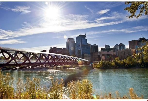 A Pedestrian Bridge Across Bow River In Calgary