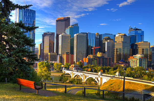 Hdr Park Bench Overlooking Skyscrapers Of Calgary Alberta-Hdr Park Bench Overlooking Skyscrapers Of Calgary Alberta
