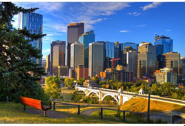 Hdr Park Bench Overlooking Skyscrapers Of Calgary Alberta