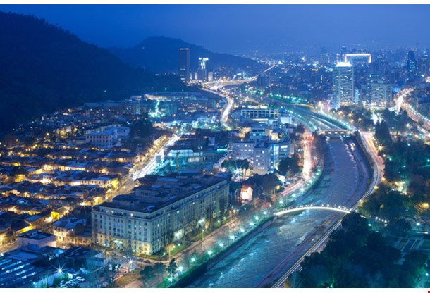 Night View Of Santiago De Chile