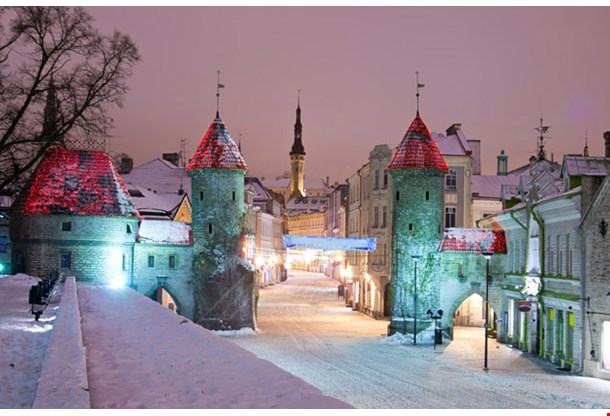 Snowy Nighttime Old City of Tallinn