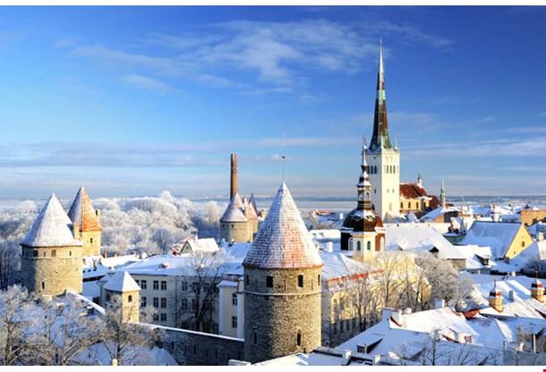 Tallinn City Panoramic Winter Landscape