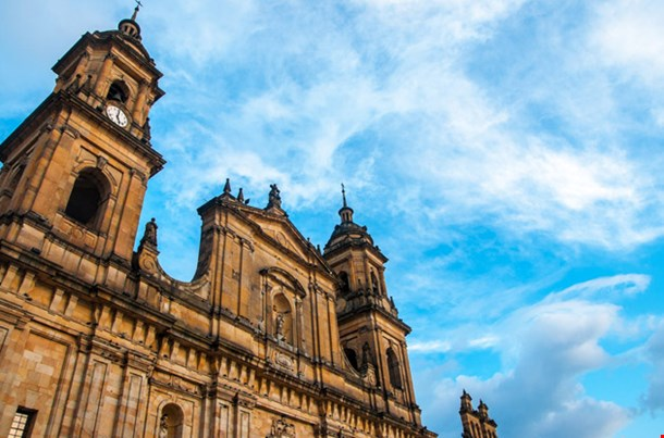The Front of the Cathedral in Bogota