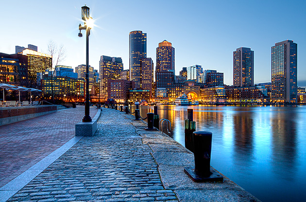 boston-harbor-and-financial-district-at-sunset-in-boston-Boston Harbor And Financial District At Sunset In Boston