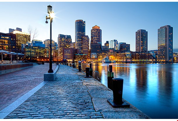 Boston Harbor And Financial District At Sunset In Boston