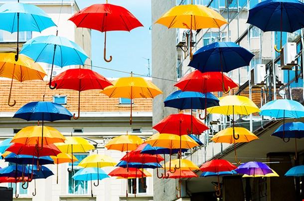 Street Decoration With Colorful Umbrellas Belgrade