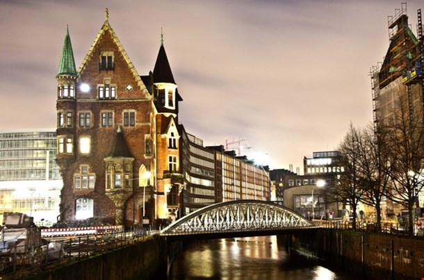 Historic Speicherstadt at Night
