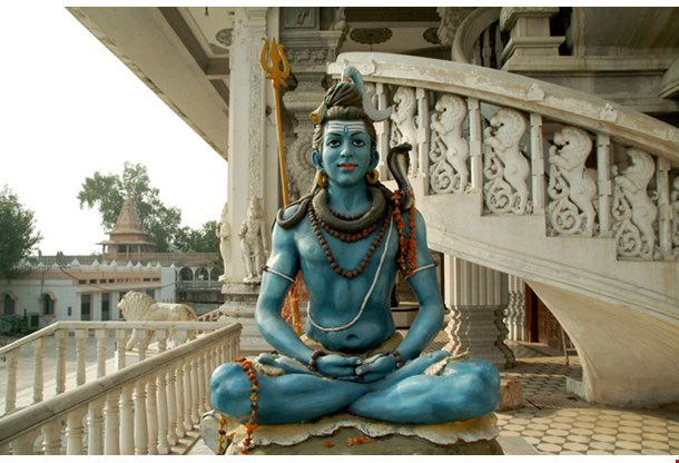 Close up of Shiva Statue Chattapur Mandir Temple New Delhi