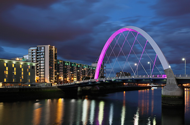 clyde-arc-bridge-at-night-glasgow-Clyde Arc Bridge At Night Glasgow