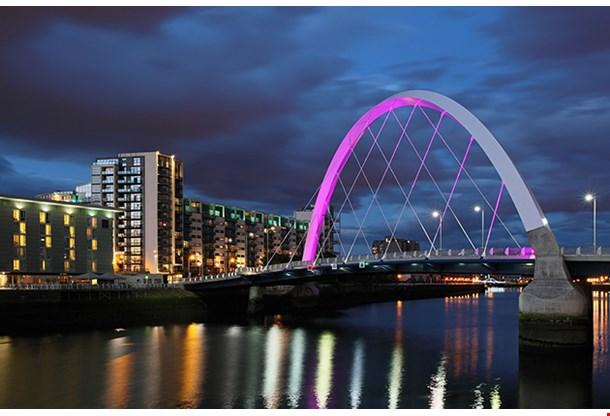 Clyde Arc Bridge At Night Glasgow
