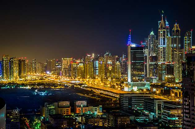 dubai-downtown-night-scene-with-city-lights-Dubai Downtown Night Scene With City Lights