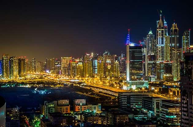 dubai-downtown-night-scene-with-city-lights-Dubai Downtown Night Scene With City Lights