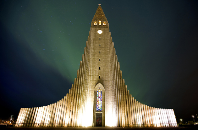 northern-lights-shining-over-the-church-reykjavik-Northern Lights Shining Over the Church Reykjavik