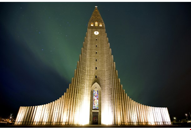 Northern Lights Shining Over the Church Reykjavik