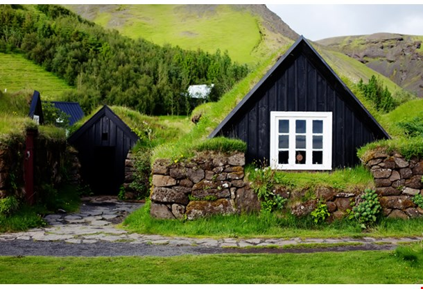 Traditional Icelandic House With Grass Roof in Skogar Folk Museum Iceland