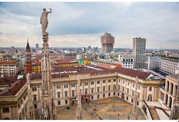 Panorama View Milan Cathedral Royal Palace