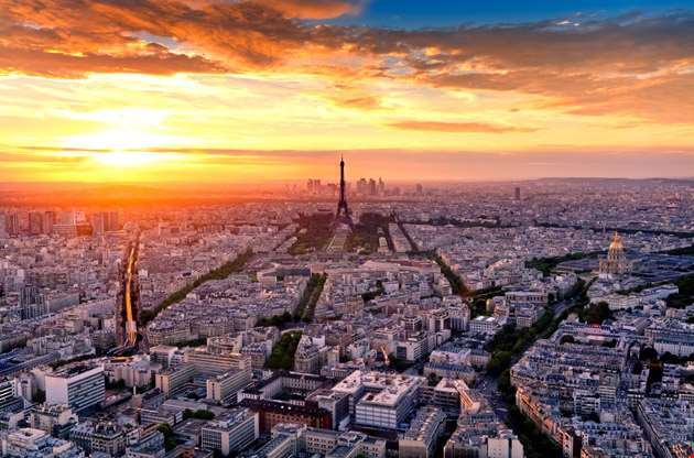 aerial-view-of-paris-at-sunset-Aerial View of Paris at Sunset