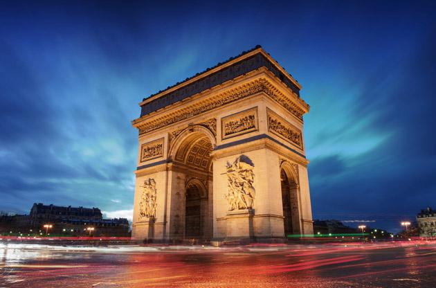 arc-de-triomphe-paris-city-at-sunset-Arc De Triomphe Paris City at Sunset