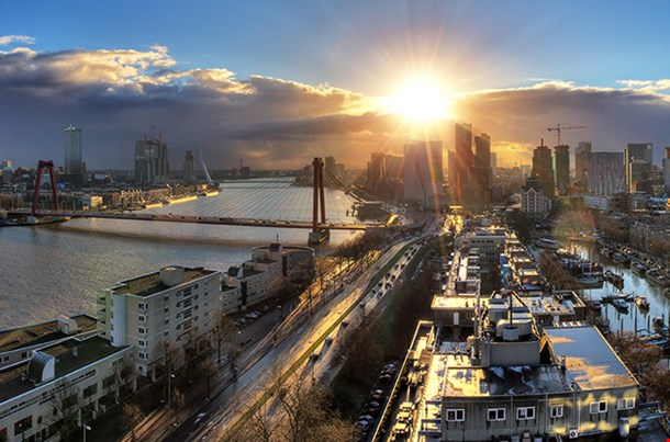 Beautiful Sunset Panorama Of The City Of Rotterdam
